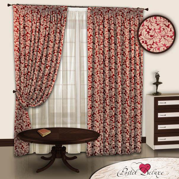 Шторы РеалТекс Классические шторы Akina Цвет: Бежевый-Бордовый реалтекс реалтекс классические шторы akina цвет бежевый бордовый