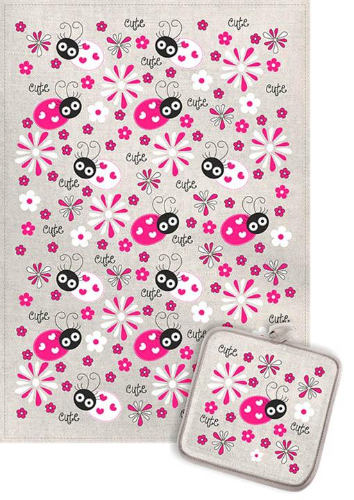 Кухонный набор Гранд-Стиль Гранд-Стиль Кухонный набор из 2 полотенец Божья коровка и ромашки Цвет: Малиновый gst190865
