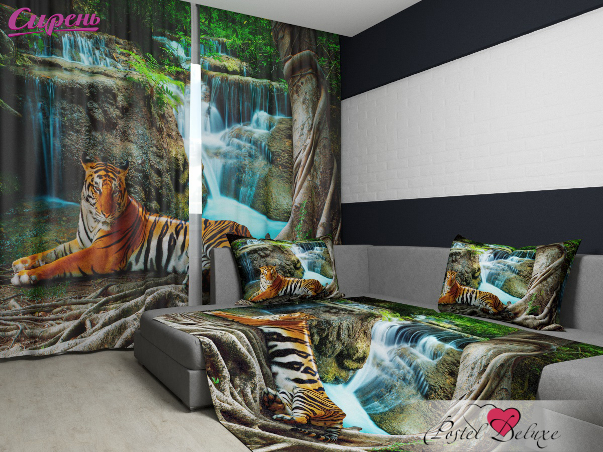 Шторы Сирень Комплект Фотошторы + Покрывало Индийский Тигр