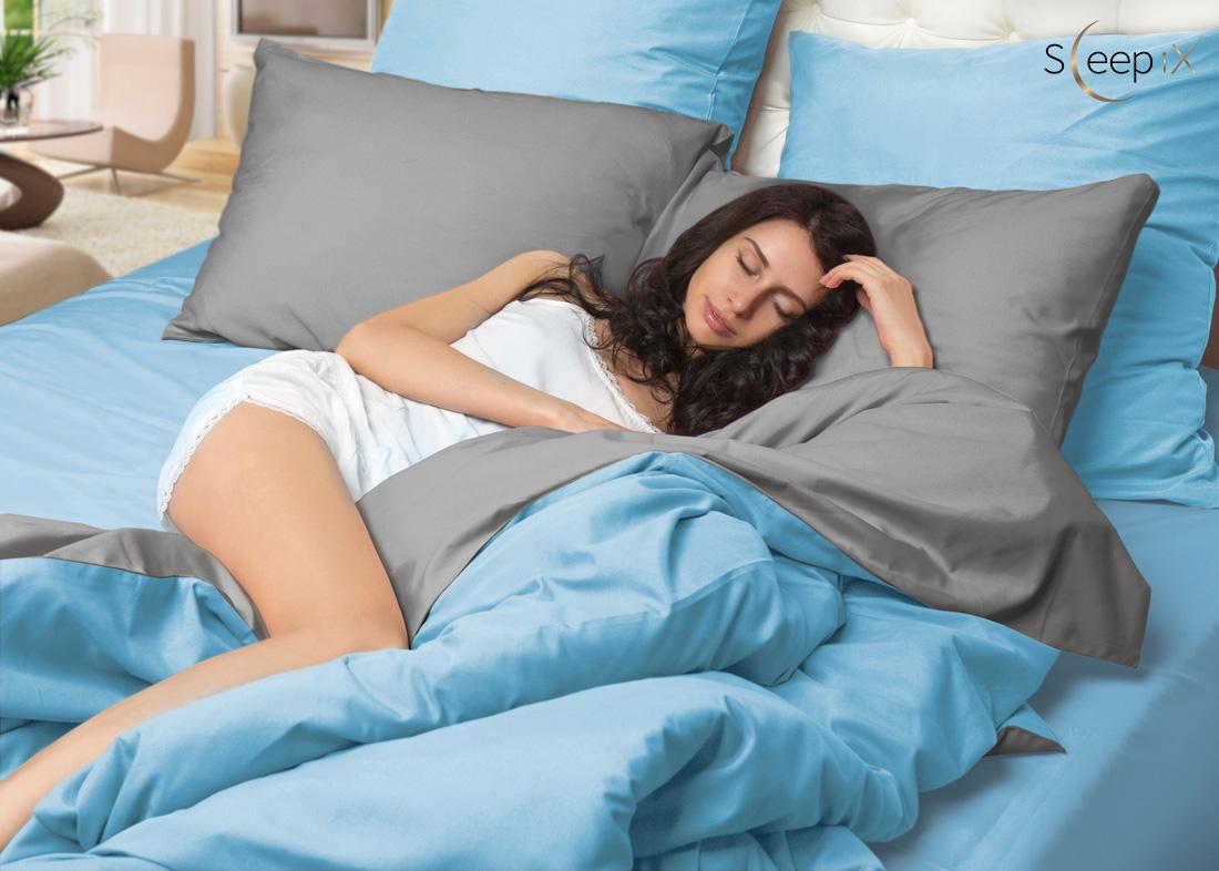 Постельное белье Perfection Цвет: Голубой + Серый (2 сп. евро) Sleep iX