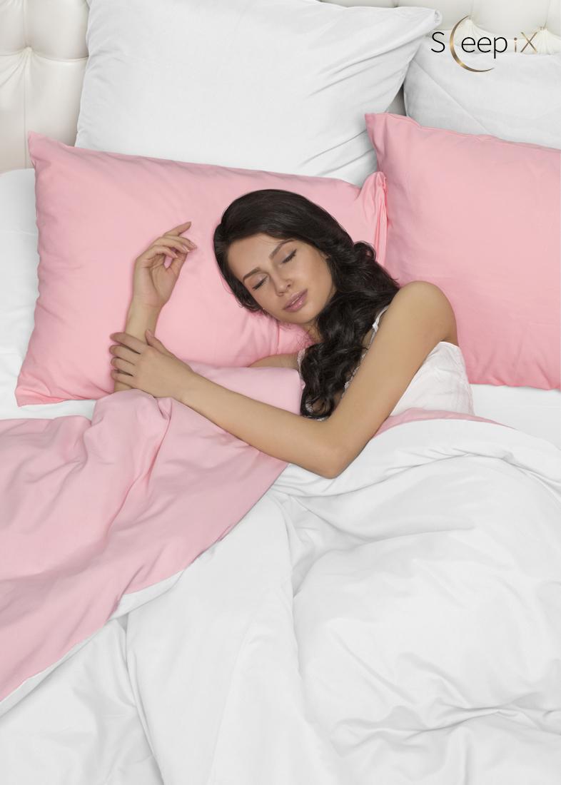 Постельное белье Perfection Цвет: Розовый + Белый (2 сп. евро) Sleep iX