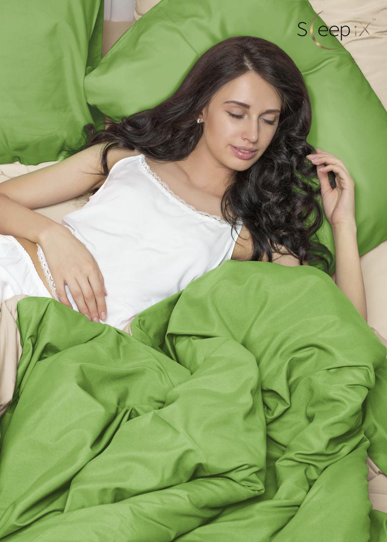 Постельное белье Perfection Цвет: Зеленый + Молочный (2 сп. евро) Sleep iX