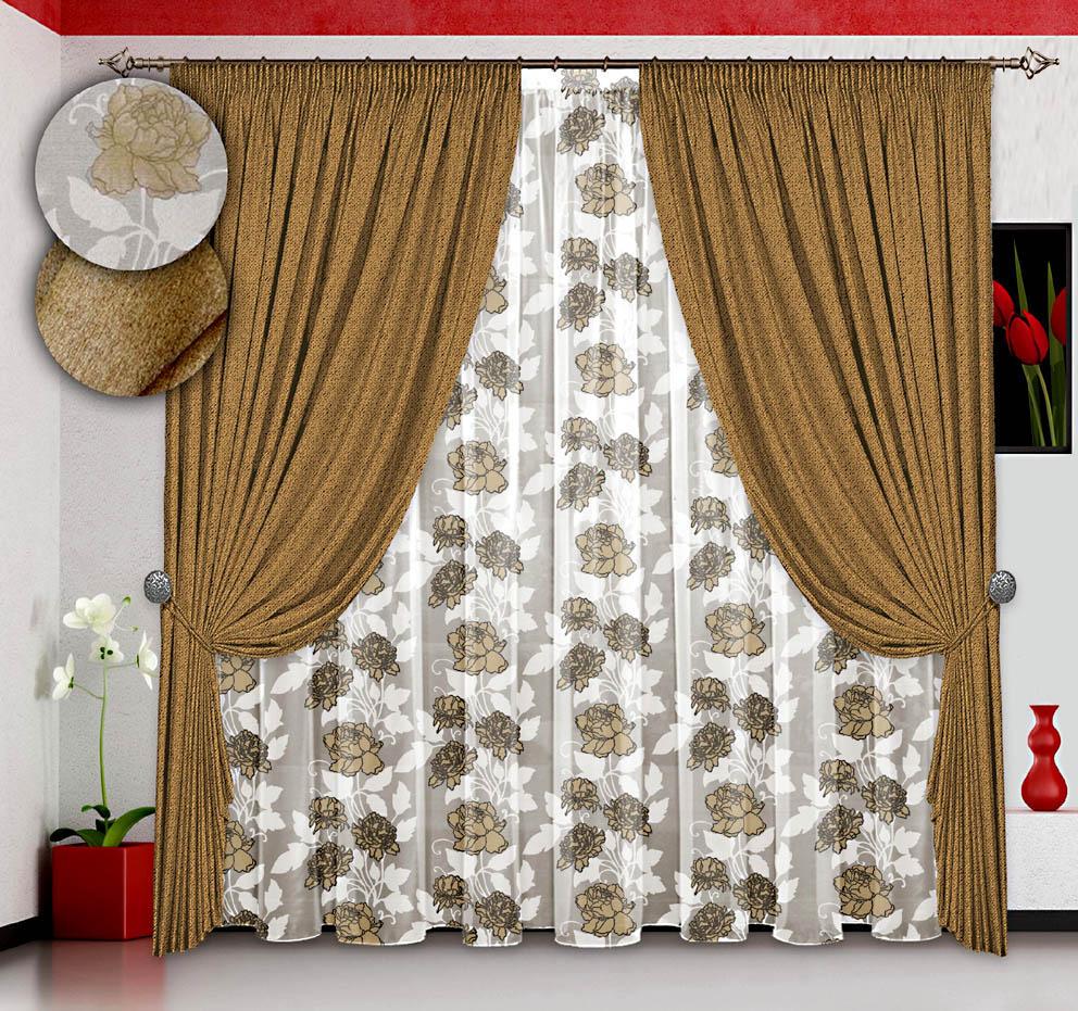 Шторы РеалТекс Классические шторы Профекс Цвет: Золото реалтекс реалтекс классические шторы akina цвет бежевый бордовый