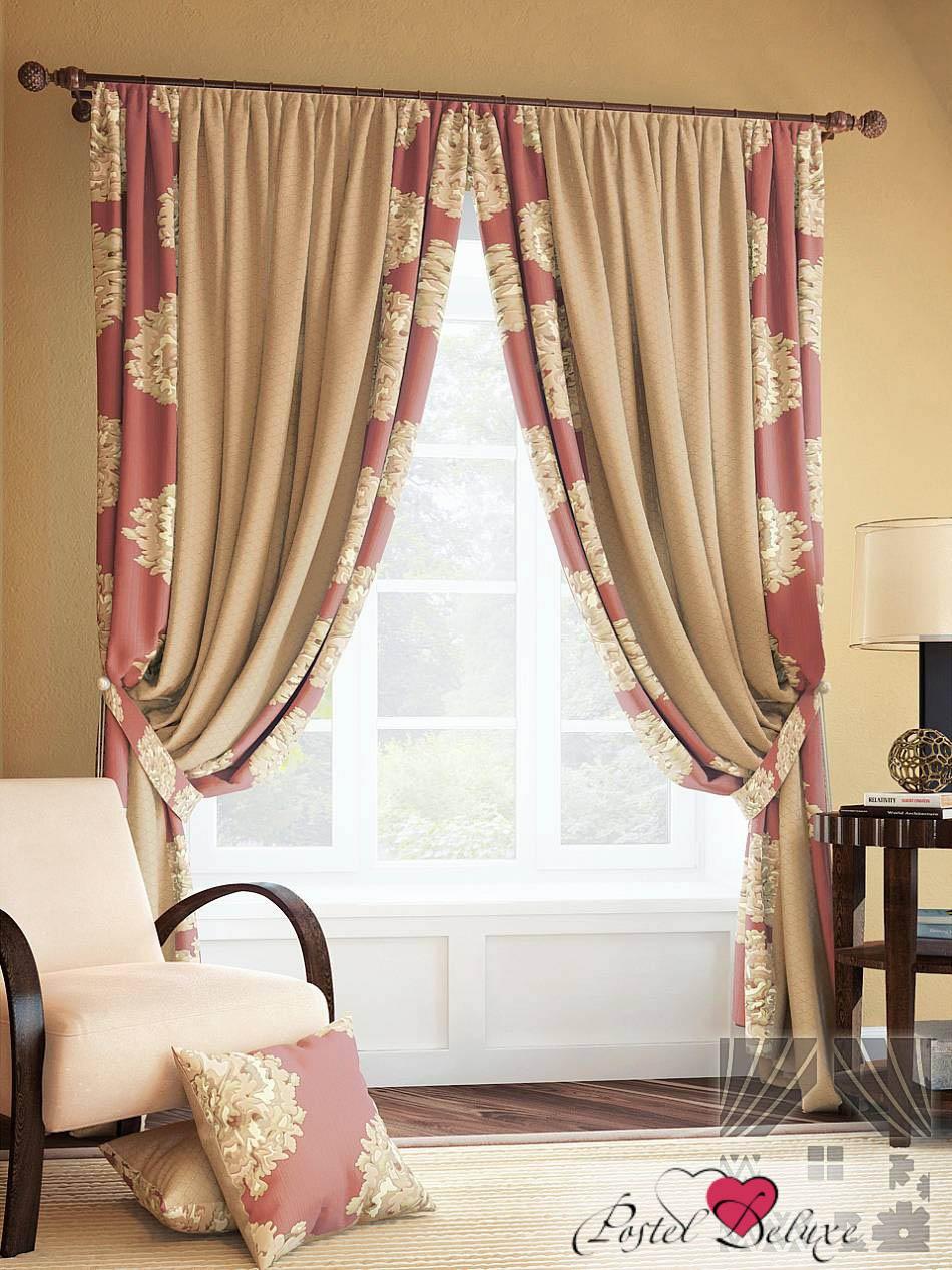 Шторы ТомДом Классические шторы Лейс Цвет: Бруснично-Бежевый томдом томдом классические шторы абель цвет малиновый