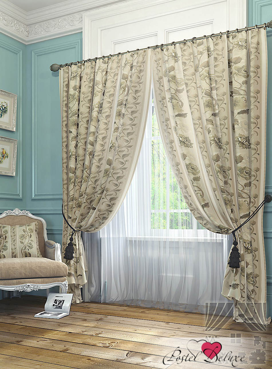 Шторы ТомДом Классические шторы Нанси Цвет: Бежевый шторы томдом классические шторы мелета к цвет бежевый