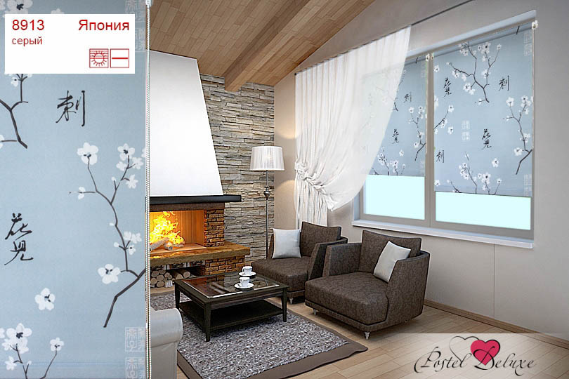 Уют Рулонные шторы Япония Цвет: Серый