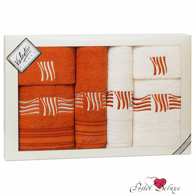 Полотенца Valentini Полотенце Sea Цвет: Терракотовый, Белый (Набор) полотенца eleganta полотенце anetta цвет темная фуксия набор
