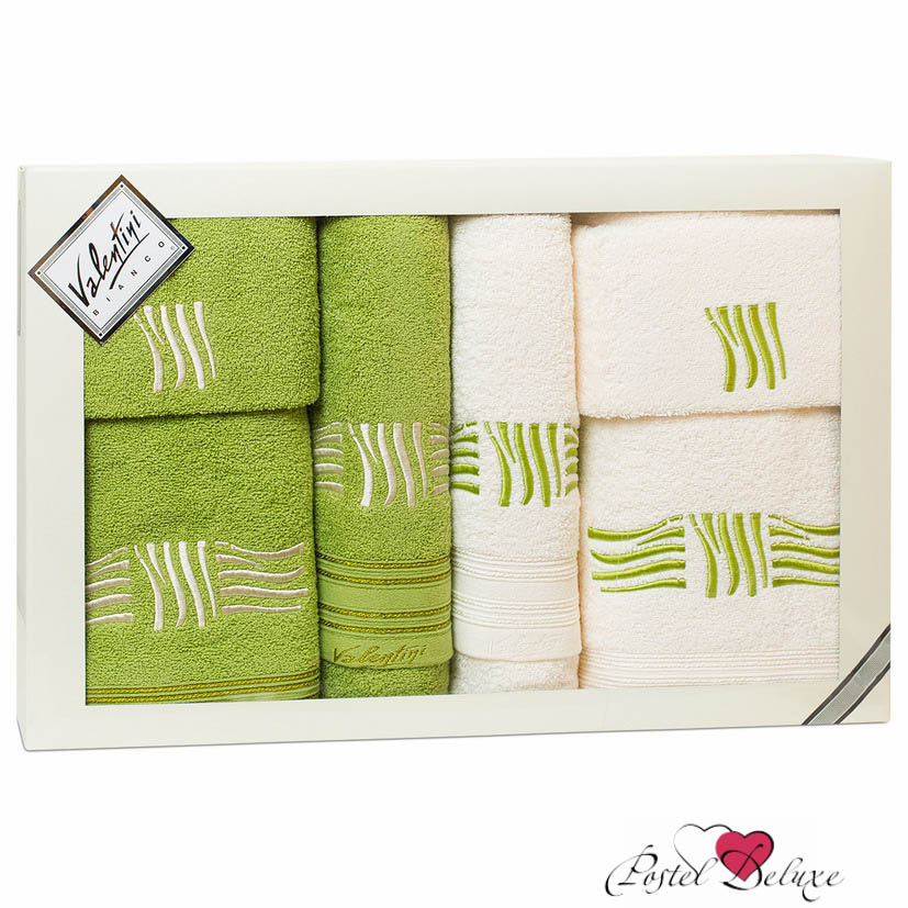 Полотенца Valentini Полотенце Sea Цвет: Салатовый, Белый (Набор) полотенца eleganta полотенце anetta цвет темная фуксия набор