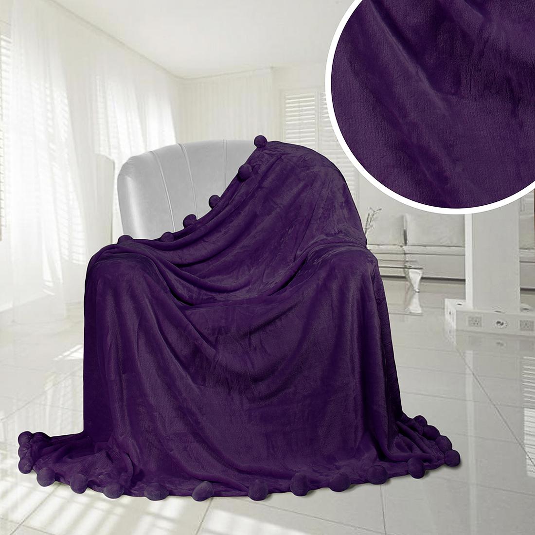 Плед Eleganta Плед Помпон Цвет: Фиолетовый (210х220 см) плед eleganta плед помпон цвет фиолетовый 210х220 см