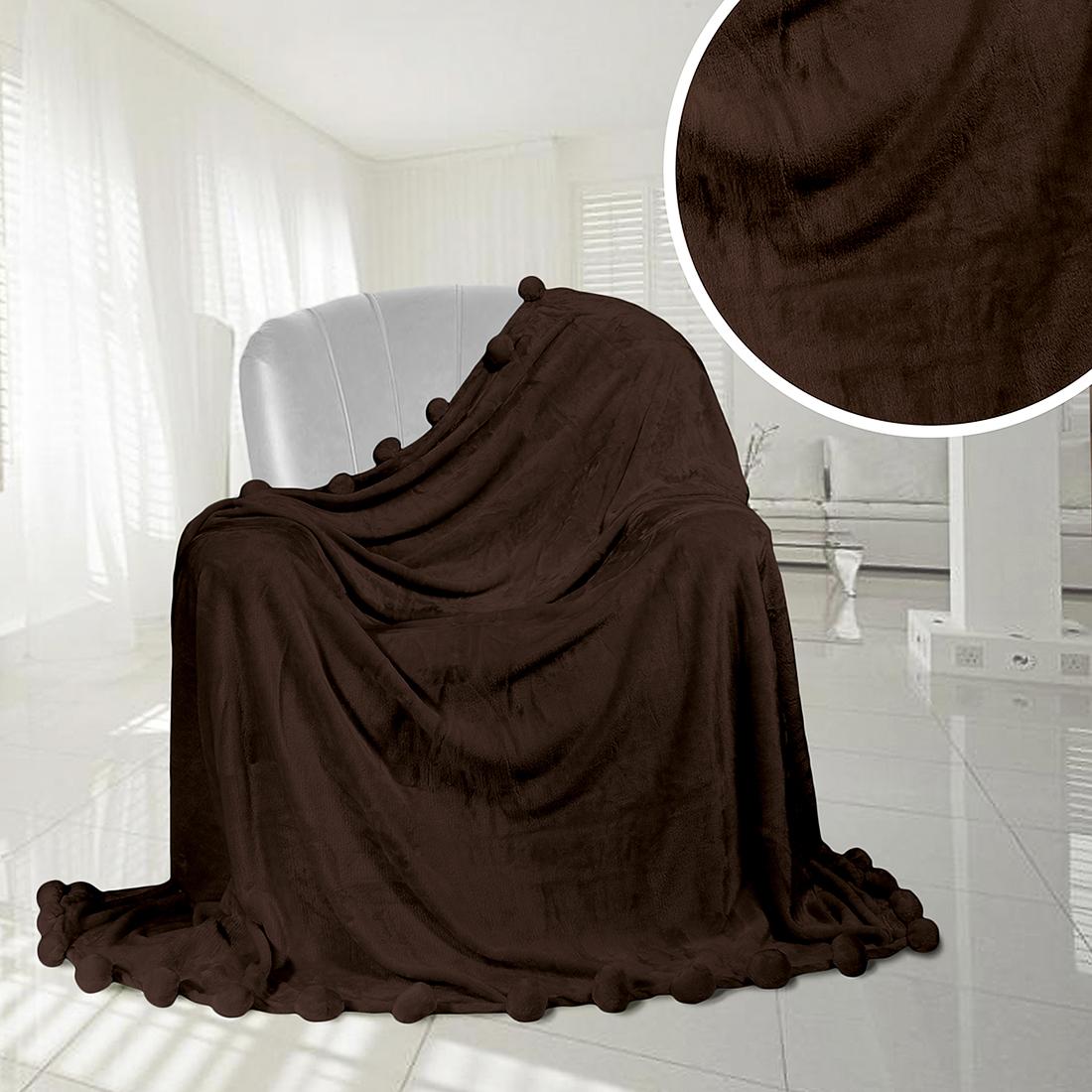 Плед Eleganta Плед Помпон Цвет: Шоколадный (210х220 см) плед eleganta плед помпон цвет фиолетовый 210х220 см