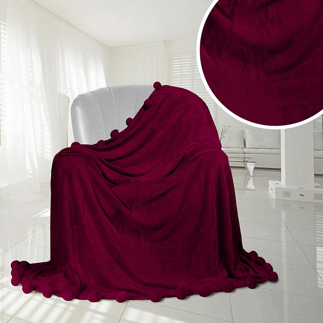 Плед Eleganta Плед Помпон Цвет: Бордовый (210х220 см) плед eleganta плед помпон цвет фиолетовый 210х220 см