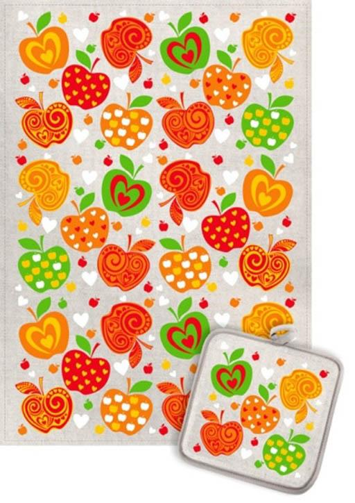 Кухонный набор Гранд-Стиль Гранд-Стиль Кухонное полотенце Яблоки узорные (пестрые) gst190813